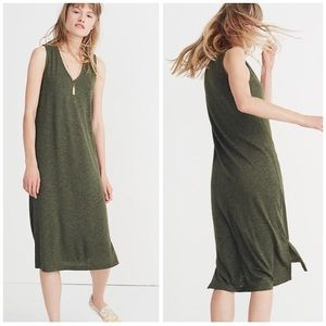 Madewell S V-Neck Jersey Tank Dress Heather Green